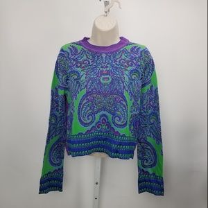 Free People Crop Sweater Patterned Sz S Green